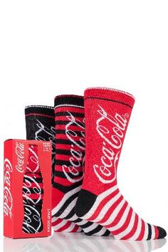 Coca Cola Mens 3 Pair Coca Cola Striped Cotton Socks In the classic Coke colours of red, white and black, and boldly emblazoned with the famed brand logo, these three pairs of mens themed Coca-Cola Striped Cotton Socks have plenty of the American-style  http://www.MightGet.com/april-2017-2/coca-cola-mens-3-pair-coca-cola-striped-cotton-socks.asp