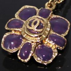 Gold Necklace Purple Flower