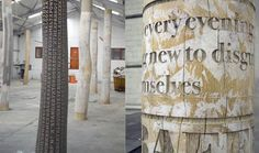 typographic tree columns by why not associates. They're being made in collaboration with Gordon Young at Crawley Library (UK)