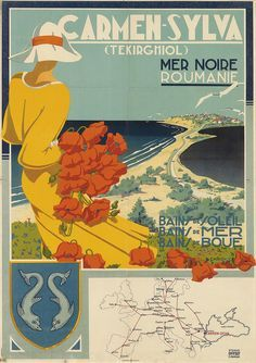 Only known poster of Romanian artist George Chirovici, circa 1930.  Carmen Sylva is currently known as Eforie Sud.