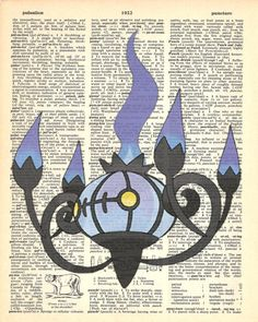 Chandelure Pokemon Dictionary Art Print by MollyMuffinsPrints