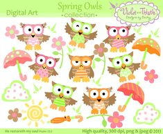 Great for showers, invitations, decorating classrooms... Owl clip art Owl Digital Clip Art Owls Clipart by VioletandThistle, $6.99