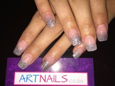 Silver glitter ombre acrylic nails i did Acrylic Nail Art, Glitter Nail Art, Silver Glitter, Beauty, Beleza, Acrylics, Silver Sequin