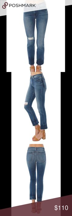 NWT Frame Denim Le High Straight Raw Hem Jeans 30 NWT Frame Denim Le High Straight Jeans size 30. Distressed throughout. Dip dyed raw hem. Frame Denim Jeans
