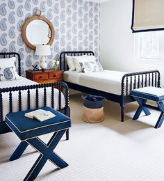 Create a Kid's Bedroom that they will want to share! Mood Board by Postbox Designs E-Deisgn, shared kid's bedroom, bunkroom design, boy bedroom decor, girl bedroom decor Coastal Bedrooms, Guest Bedrooms, Guest Room, White Bedrooms, Boy Bedrooms, Spindle Bed, Bedroom Photos, Beautiful Bedrooms, Style At Home