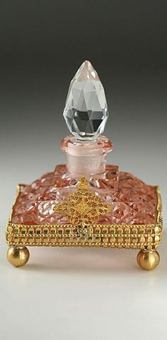Very Vintage Square Pink Faceted Cut Crystal On Gold Filigree Ball Footed Base Perfume Bottle
