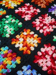 Granny Square Afghan Set on Point Variegated Colorful Yarn 48x78 Black Edges #HandCreated