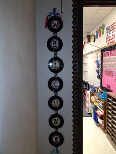 Rockstar Classroom Theme-adorable welcome banner made with real records!! (FREEBIE ALERT!!! You can grab the adorable rock n roll letters for the center here!)
