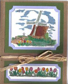 Watercolored Windmill-Stampin Up Netherlands stamp set. Hollandse Kaarten