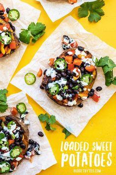 Loaded Sweet Potatoes are the perfect pre-portioned item for your weekly meal prep. They reheat well and can be customized to fit your needs. Vegetarian Meal Prep, Vegetarian Recipes, Cooking Recipes, Healthy Recipes, Fast Recipes, Steak Recipes, Bulk Cooking, Cooking Games, Skinny Recipes
