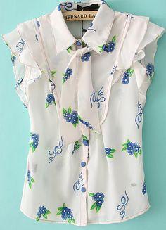 Blusa solapa floral-blanco 8.03