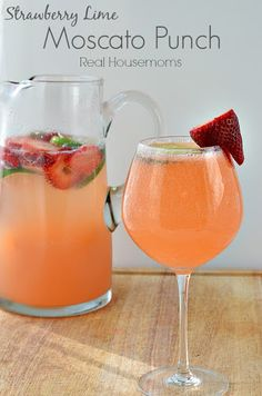 This Strawberry & Lime Moscato Punch is so easy to make and works for a party or just a lazy weekend at home. This Strawberry & Lime Moscato Punch is so easy to make and works for a party or just a lazy weekend at home. Party Drinks, Cocktail Drinks, Fun Drinks, Yummy Drinks, Cocktail Recipes, Alcoholic Drinks, Yummy Food, Sangria Recipes, Mixed Drinks