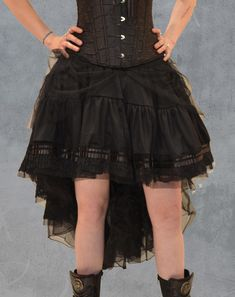 59.90 Jupe noire asymétrique victorienne burlesque gothique