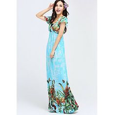 TS Bohemia Butterfly Print Slim Holiday Beach Maxi Dress(Random Prints)