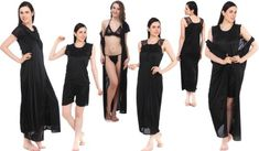 Fasense 6 Pc Satin Nightwear Set Attractive Bridal Collection For Gifting Soft & Cozy Nightwear