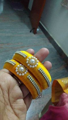 To order plz what's app on 94929 91857 Silk Thread Bangles Design, Silk Thread Necklace, Silk Bangles, Beaded Necklace Patterns, Thread Jewellery, Jewelry Patterns, Handmade Pearl Jewelry, Jewelry Closet, Bangles Making