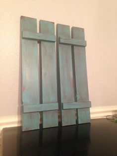 Set of 2 Cute decorative shutters for home decor counry, shabby chic, wood shutters, primitive Teal with brown distressing. by HoneyDoTreasures on Etsy https://www.etsy.com/listing/207807931/set-of-2-cute-decorative-shutters-for
