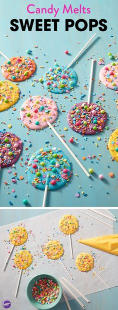 Every day is a reason to celebrate something! Share a special moment or just find a reason to treat yourself with these Sweet Pops. Made using an assortment of sprinkles and a variety of Candy Melts candy, these pops are quick and easy treats for kids, or make great edible favors for spring parties or celebrations. This is also a great way to use up any leftover Candy Melts or sprinkles you might have lying around from previous projects!