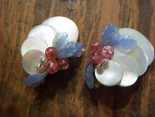 Louis Rousselet Blue & Cranberry Venetian Glass Clip On Earrings Mother of Pearl