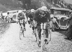 The 1927 and 1928 race winner leads this small group on a mountain stage in the Tour. Grand Tour, Paris Roubaix, Vintage Cycles, Cycling Tips, Bicycle Race, Historical Images, Classic Image, Sport, Old Things
