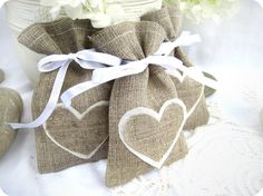 Set of 150 Wedding favor bags- Natural Rustic Linen Wedding Favor Bag with hearts or Candy Buffet Bag or Gift Bag. $265.00, via Etsy.