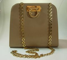 Salvatore Ferragamo Light Tan Gancio Long Chain Strap Bag Horsebit Equestrian. $345.00, via Etsy.