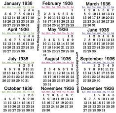 1936 Calendar