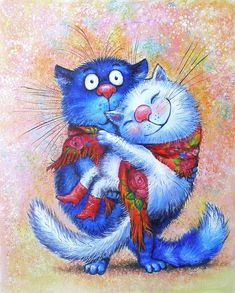 OK.RU Russian Cat, Cat Cupcakes, Tatty Teddy, Teddy Bear, Cute Animal Drawings, Blue Cats, Whimsical Art, Cool Cats, Cat Art
