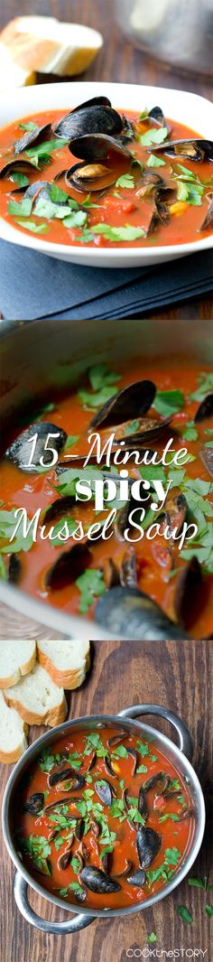 Spicy Mussel Soup - a delicious dinner in just 15 minutes. Get the recipe at COOKtheSTORY.com