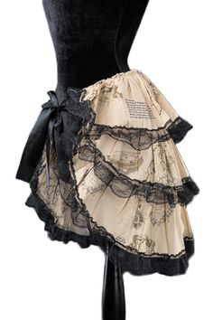 Dracula Clothing Minirock Steampunk Map Bustle over lay skirt