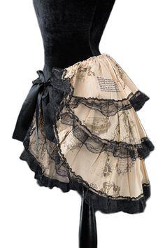Dracula Clothing Minirock Steampunk Map Bustle over lay skirt