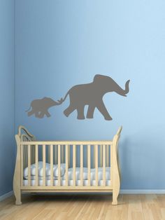 Mom & Baby Elephant Wall Decal - love this for a child's room or an elephant themed play room