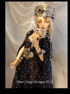 One of a Kind Beaded Moon Goddess with Genuine by ShariDeppDesigns, $149.00