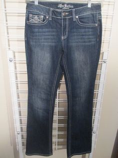 79fdf776dfe LOVE NATION Low Rise Boot Cut DENIM JEANS sz 6 meas 31 x 31 Embellished   fashion  clothing  shoes  accessories  womensclothing  jeans (ebay link)