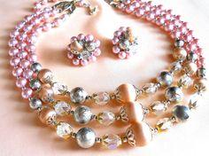 Vintage Signed Japan Peachy Pink Triple by JanesVintageJewels, $30.00
