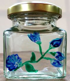 Designer Hand Painted Glass Blue Flower Jar by HandPaintedJar on Etsy