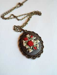 Embroidered Necklace, Flower Bouquet Necklace, Statement Necklace by RedWorkStitches on Etsy https://www.etsy.com/listing/213222000/embroidered-necklace-flower-bouquet