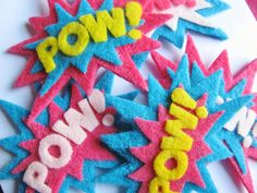 Girly POW Superhero Set of Felt Hair Clips by TheWannaBeCrafter