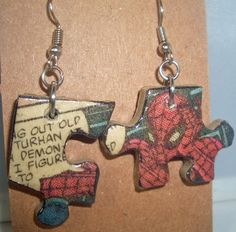 ♤¤ Spiderman Comic Book #Recycled Puzzle Dangle #Earrings by #CurbedEarth #geekery http://etsy.me/2g0rbKN