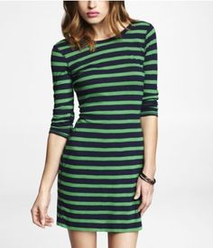 STRIPED CONVERTIBLE NECKLINE SLUB DRESS   Express. I have this one and love it, I wear the low cut neckline in back.