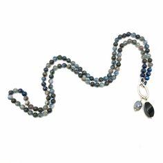 Kyanite Mala Bead Necklace 108 Yoga and Meditation Beads | Etsy Semi Precious Beads, Semi Precious Gemstones, Yoga Jewelry, Unique Necklaces, Bracelet Sizes, Silver Charms, Amethyst, Meditation, Prayers
