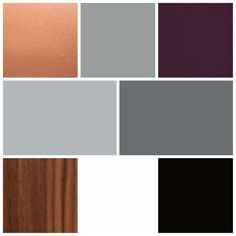 Color palette for our living spaces. A mix of grays on the walls, black and white art, with plum and copper accents and medium walnut wood tones.