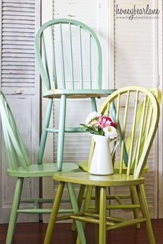 Love these 3 colors ~ turquoise–Martha Stewart Yucca Plant, aqua–Martha Stewart Sea Glass, lime green-Glidden Granny Smith, sage-Glidden Spanish Olive Decor, Windsor Chair, Furniture Makeover, Chair, Cool Chairs, Painted Chairs, Old Wooden Chairs, Painted Furniture, Painted Wooden Chairs