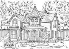 Castle Coloring Page, House Colouring Pages, Coloring Book Pages, Printable Coloring Pages, Bible Verse Coloring Page, Christmas Coloring Pages, Book Images, Art Club, Victorian Homes