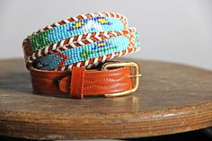 Vintage Aztec Beaded Leather Belt  Native by GirlLeastLikely