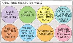 Promotional stickers for novels by Tom Gauld