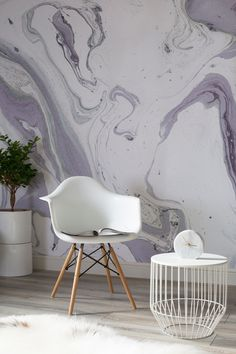 Captivating swirls of purple make up this marbleized wallpaper design. Ideal for modern living room spaces looking for unique yet stylish wallpaper ideas. Interior Design Living Room, Living Room Decor, Interior Decorating, Bedroom Decor, Decorating Ideas, Decoration, Wall Murals, Diy Home Decor, House Design