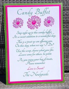 PRINTABLE Wedding Candy Buffet/Table Sign by MySentimentsInvites, $8.00 Candy Buffet Signs, Candy Buffet Tables, Candy Table, Dessert Table, Wedding 2015, Wedding Wishes, Wedding Signs, Wedding Ideas, Candy Bar Wedding
