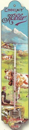 FRENCH METAL DECORATIVE SILKSCREENED THERMOMETER RETRO AD SWISS KOHLER CHOCOLATE Thermometer http://www.amazon.com/dp/B004VW4400/ref=cm_sw_r_pi_dp_Ezd3wb15CKZ1F