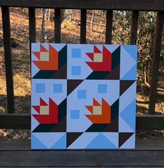 15% off today, 11.27.17. Now $89.25 Barn Quilt Designs, Barn Quilt Patterns, Quilting Designs, Barn Quilts For Sale, Painted Sticks, Custom Quilts, Rustic Barn, Spring Flowers, Flower Patterns